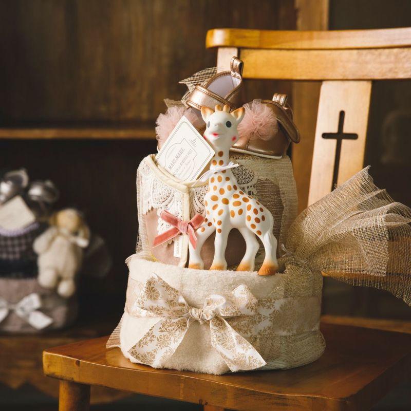 【おむつケーキ】キリンのソフィ&マールマール(女の子)2段おむつケーキ