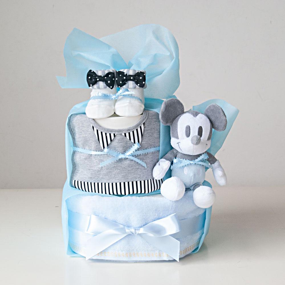 【おむつケーキ】ディズニーBABYぬいぐるみ(ミッキー)2段おむつケーキ