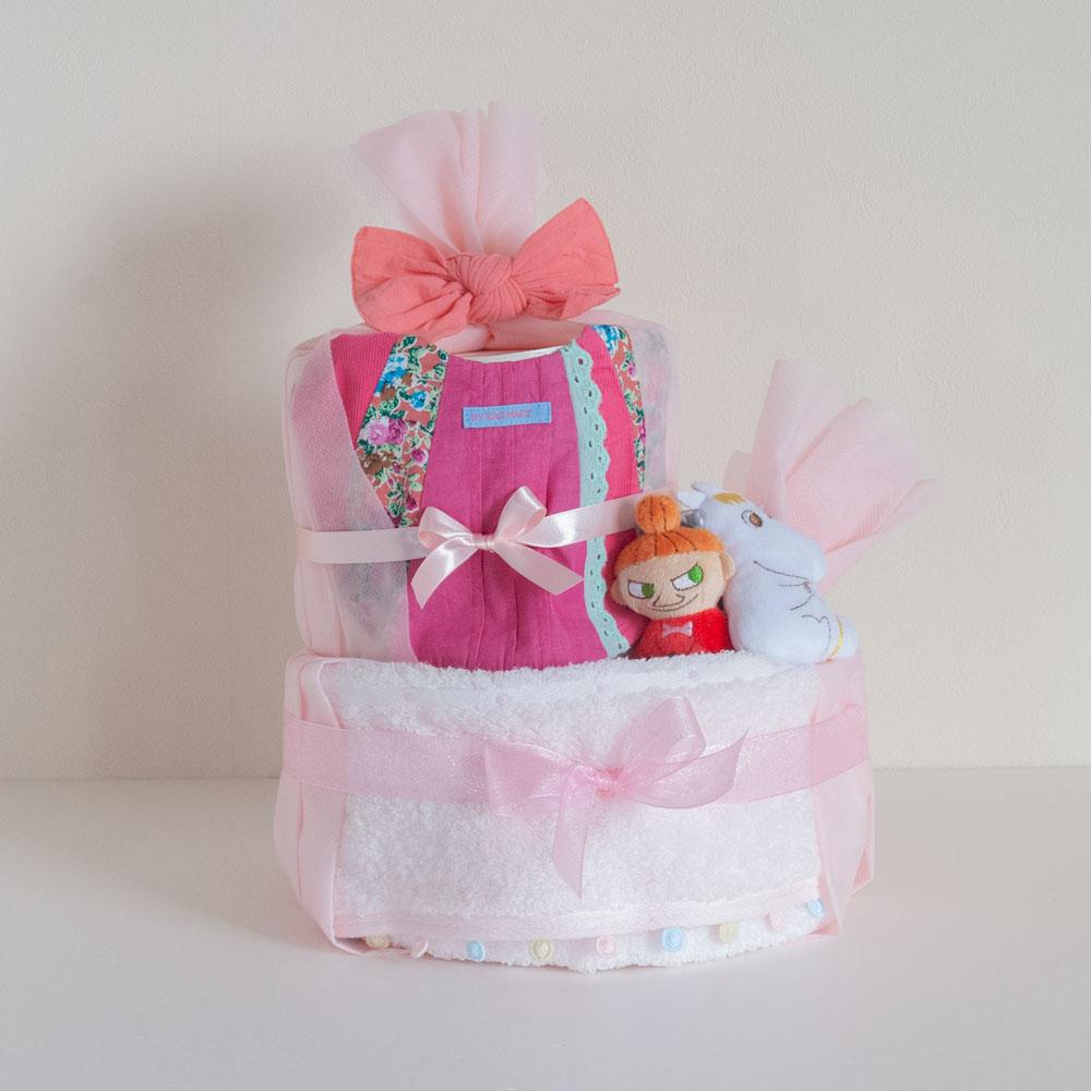 【おむつケーキ】ミーのラトル&Rgmartスタイ(女の子)2段おむつケーキ