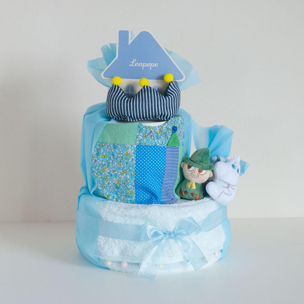 【おむつケーキ】ムーミンのラトル&Rgmartスタイ(男の子)2段おむつケーキ